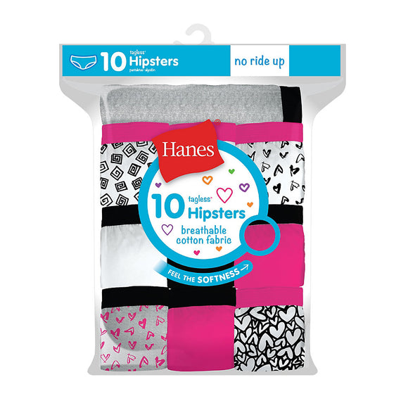 Hanes Girls' Cotton Hipsters 10-Pack,Style GP10HP