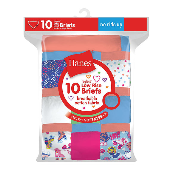 Hanes Girls Tagless Low Rise Briefs P10,Style GP10LR