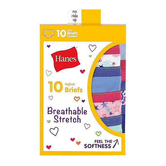 Hanes Girls' Breathable Stretch Briefs 10-Pack,Style GSTB10