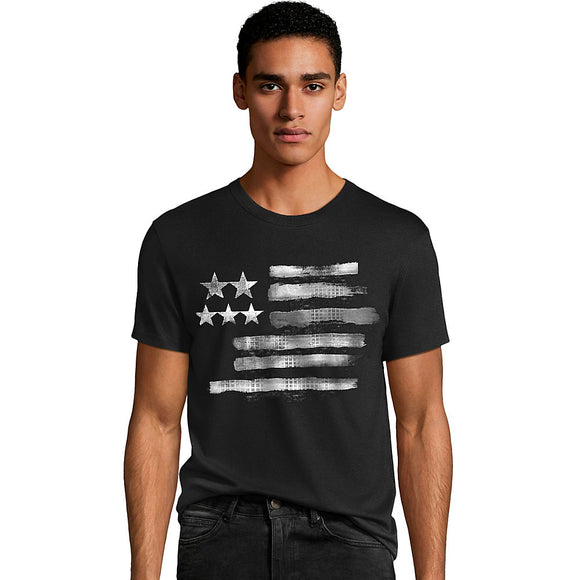 Men's Black & White Flag Graphic Tee,Style GT49 Y06375