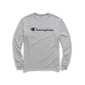 Champion Men's Classic Script Logo Jersey Long-Sleeve Tee*FREE SHIP* GT78H