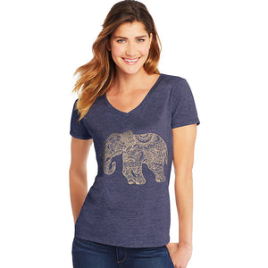 Hanes Women's Pattern Elephant Short Sleeve V-Neck Tee,Style GT9337 Y06918