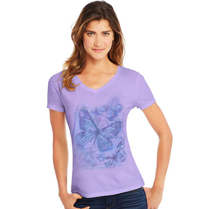 Hanes Women's Big Butterfly Impression Short Sleeve V-Neck Tee,Style GT9337 Y06923