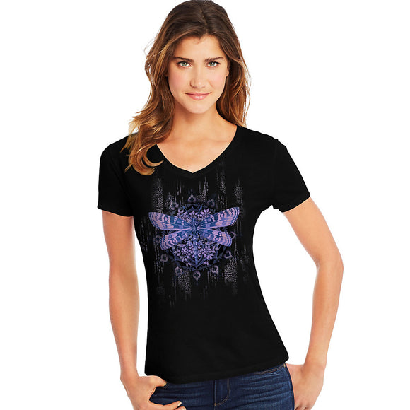Hanes Women's Dragonfly Mandala Short-Sleeve V-Neck Graphic Tee,Style GT9337 Y07650