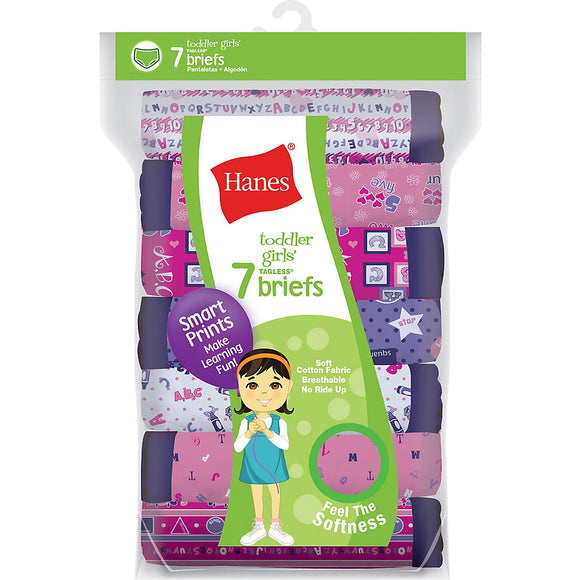 Hanes Tagless® Toddler Girls Days of the Week Pre-Shrunk Cotton Briefs 7-Pack,Style GTHMT7