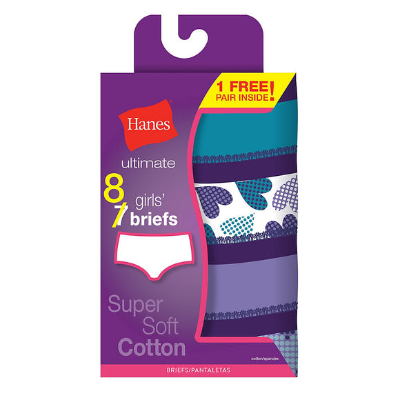 Hanes Ultimate® Girls' Super Soft Cotton Briefs 8-Pack (7 + 1 Free Bonus Pack),Style GU30P8