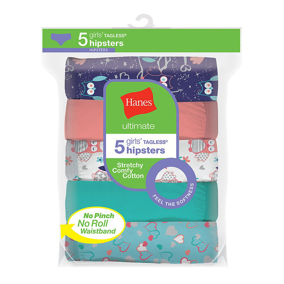 Hanes Ultimate® Girls' Cotton Stretch Hipsters 5-Pack,Style GUCSHP