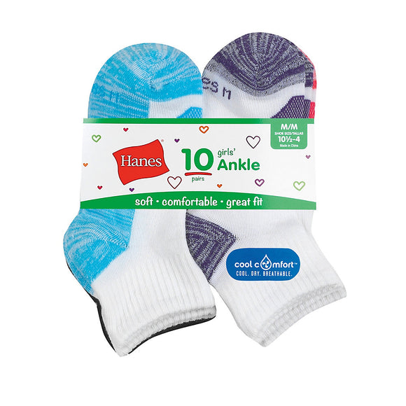 Hanes Girls' Cool Comfort® Ankle Socks 10-Pack,Style HGBA10
