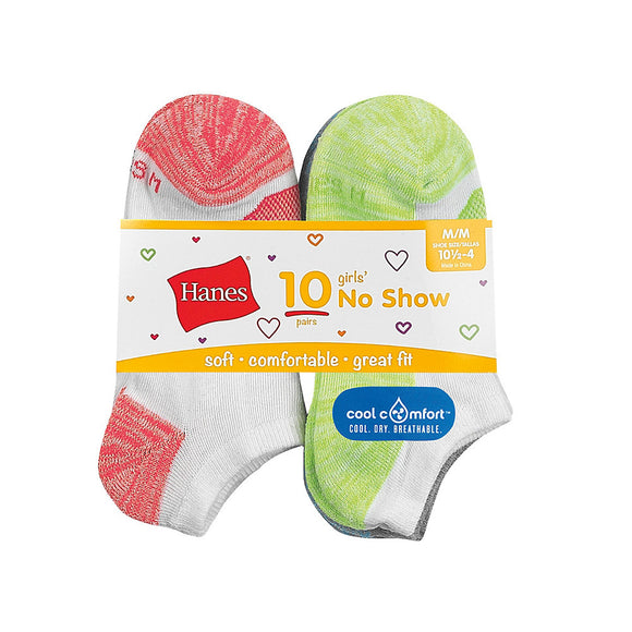 Hanes Girls' Cool Comfort No Show Socks 10-Pack,Style HGBN10
