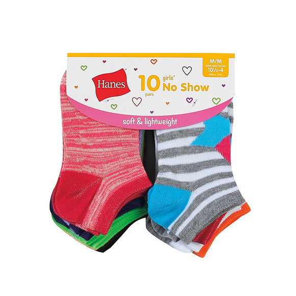 Hanes Girls' Fashion No Show Socks 10-Pack,Style HGFN10