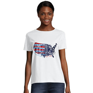 Hanes Women's Americana Map Graphic Tee,Style O5680A Y08290