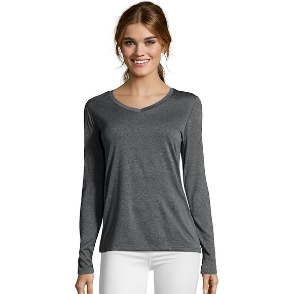 Hanes Sport™ Cool DRI® Women's Performance Long-Sleeve V-Neck T-Shirt,Style O9309