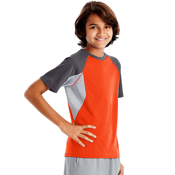 Hanes Sport™ Boys' Performance Tech Mesh Pieced Tee,Style OD182