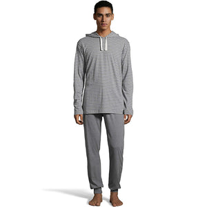 Hanes Men's 1901 Heritage Striped Hoodie with Jogger Pant Set,Style 4164