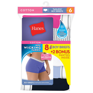 Hanes WoMen's Cool Comfort Sporty Boy Brief P6+2 free (Bonus Pack),Style P849SC