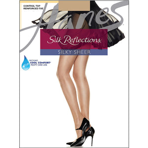 Hanes Silk Reflections Control Top Reinforced Toe Pantyhose,Style 718