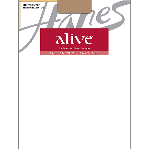 Hanes Alive Full Support Control Top Reinforced Toe Pantyhose,Style 810