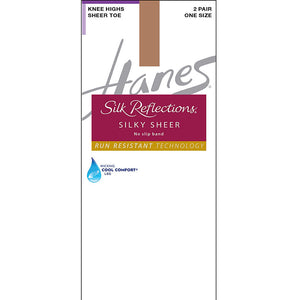 Hanes Silk Reflections Silky Sheer No-Slip Band Knee Highs with Run Resistant Technology 2-Pair Pack,Style 0A990