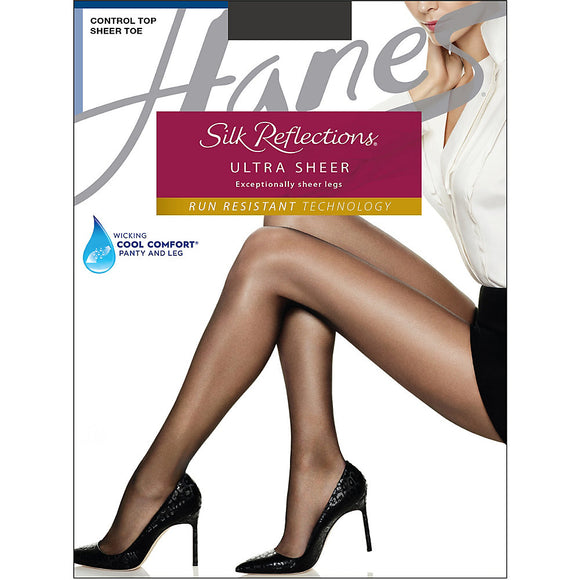 Hanes Silk Reflections Ultra Sheer Control Top Pantyhose with Run Resistant Technology,Style 0B260
