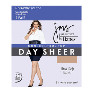 JMS Smooth Finish Regular Sheer Toe Panty Hose 2 Pair Pack,Style 88801