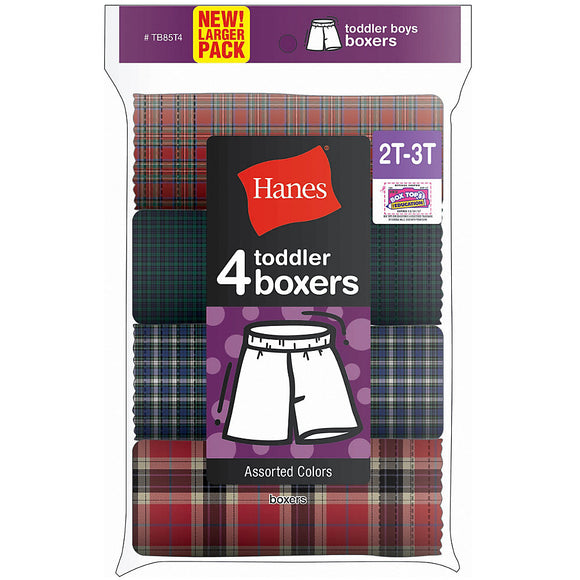 Hanes Toddler Boy's Tartan Boxer 4-Pack,Style TB85T4