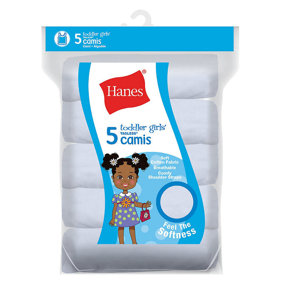 Hanes Ultimate™ TAGLESS® Cotton Stretch Toddler Girls' Cami White 5-Pack,Style TV30P5