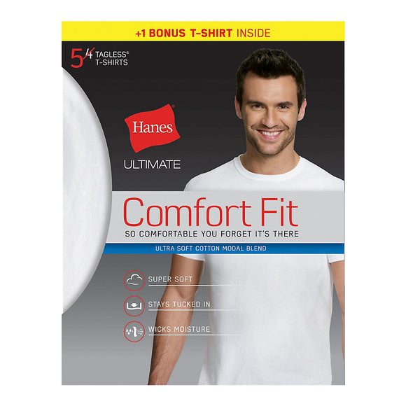 Hanes Ultimate® Men's Comfort Fit White Crewneck Undershirt 5-Pack (4 + 1 Free Bonus Pack),Style UFT15W