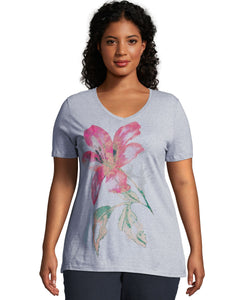 Just My Size Tropical Flower Short Sleeve Graphic T-Shirt, Style GTJ181Y06069