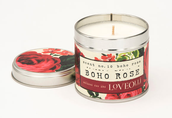LoveOlli Scented Tin Candle Boho Rose - Gifteasy Online