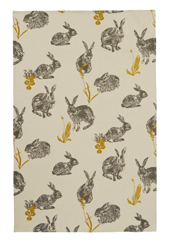 gifteasyonline - Ulster Weavers Cotton tea Towel Block Rabbit Design - Ulster Weavers - Tea Towel