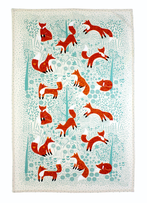 Cotton Tea Towel Foraging Fox by Ulster Weavers - Gifteasy Online