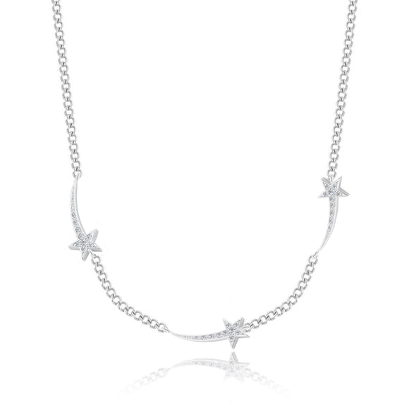 gifteasyonline - Joma Jewellery  Shooting Star Necklace Three Silver Pave Shooting Stars - jo - n
