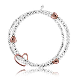 Joma Jewellery Lila Silver and Rose Gold Heart Double Strand Bracelet