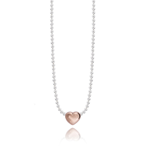 Joma jewellery SWEETHEART  necklace - silver facetted chain with rose gold heart - Gifteasy Online