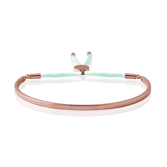 Joma Jewellery - Message Bangle - Good Vibes - Rose Gold with Pale Mint Kiko Thread