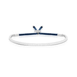 Joma Jewellery - Message Bangle - Sparkle & Shine - Silver with Navy Thread
