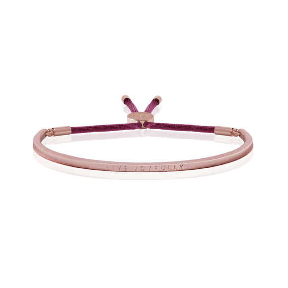 Joma Jewellery - Message Bangle - Live Joyfully - Rose Gold with Berry Thread