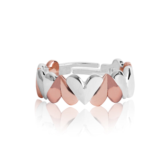 gifteasyonline - Joma Valentina - Silver & Rose Gold Hearts Ring - Joma Jewellery - ring