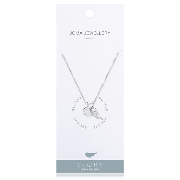 Silver Plated Story Collection Believe Angel Wing  Pendant Necklace  Joma Jewellery - Gifteasy Online