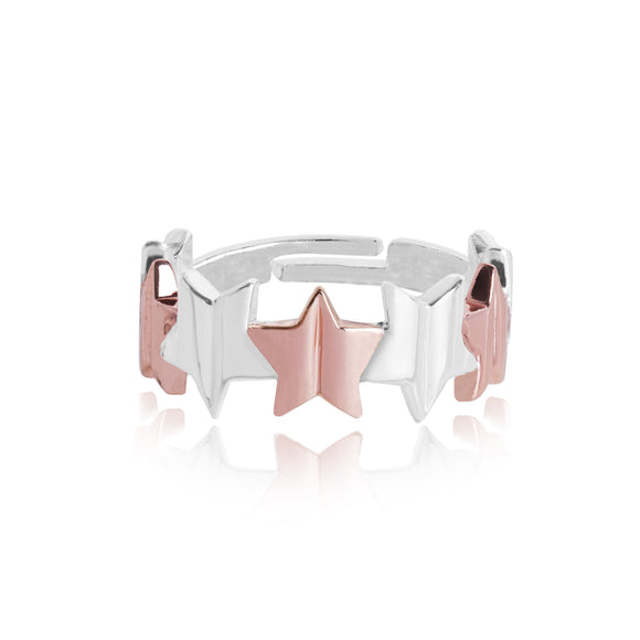 gifteasyonline - Joma Jewellery Silver Astra Ring with Two Tone Star GiftBagged - Joma Jewellery - ring