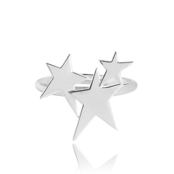gifteasyonline - Joma Jewellery Starstruck Adjustable Silver Cluster Star Ring - Joma Jewellery - ring