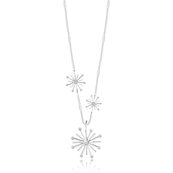 Joma Jewellery FIREWORK - firework charm on a silver chain with scattered smaller fireworks - necklace - Gifteasy Online