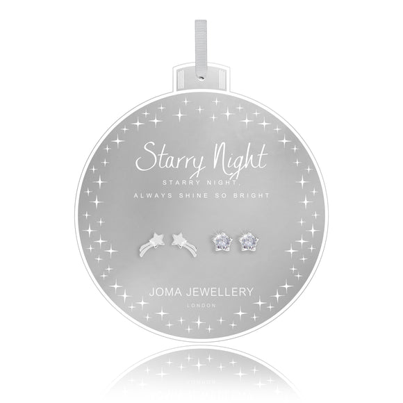 gifteasyonline - BAUBLES - STARRY NIGHT - five prong set star shape cz studs and shooting star earrings on round card - set of 2 - Joma Jewellery - earrings