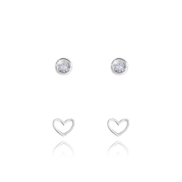 gifteasyonline - BAUBLES - LIVE LOVE SPARKLE - heart outline studs and bezel set cz earrings on round card - set of 2 - Joma Jewellery - earrings