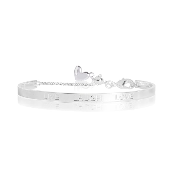 Joma jewellery LIFES A CHARM - LIVE LOVE LAUGH engraved silver bangle - 6cm diameter adjustable - Gifteasy Online