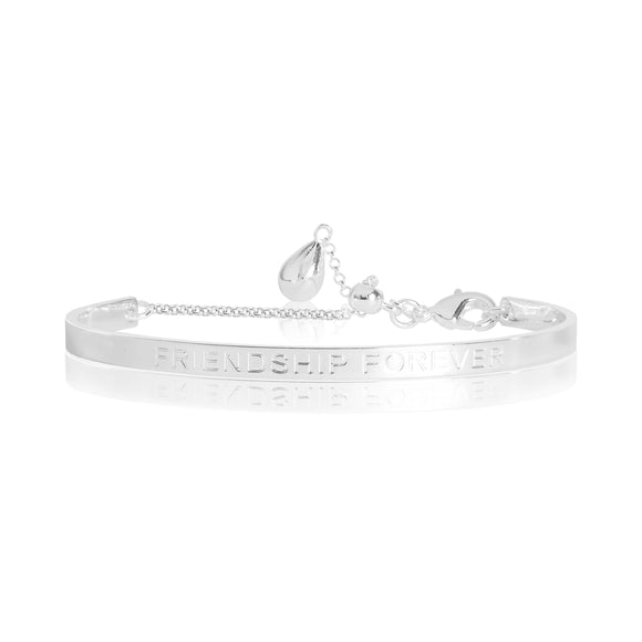 gifteasyonline - LIFES A CHARM - FRIENDSHIP FOREVER engraved silver bangle - 6cm diameter adjustable - Joma Jewellery - bangle