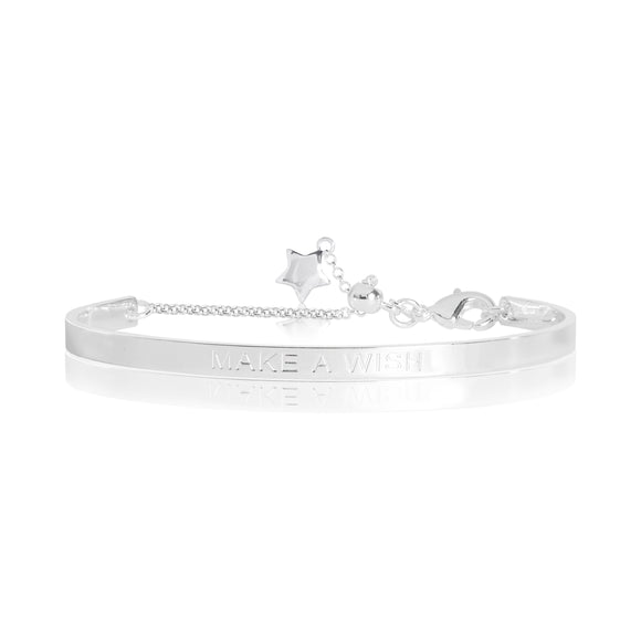 gifteasyonline - LIFES A CHARM - MAKE A WISH engraved silver bangle - 6cm diameter adjustable - Joma Jewellery - bangle