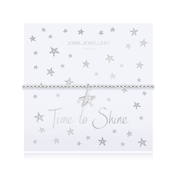 gifteasyonline - TIME TO SHINE - silver chain silver star pendant on foiled card - bracelet - Joma Jewellery - bracelet