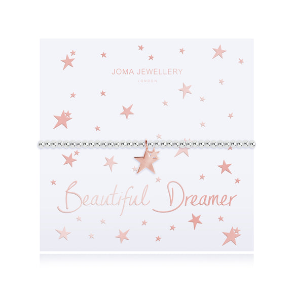 Joma Jewellery BEAUTIFUL DREAMER - silver chain rose gold stars pendant on foiled card - bracelet - Gifteasy Online