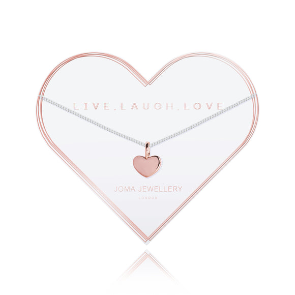 LIVE LAUGH LOVE - rose gold heart silver chain necklace - Gifteasy Online